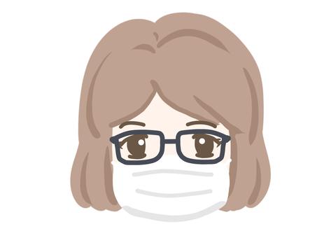 Female eyeglasses and mask