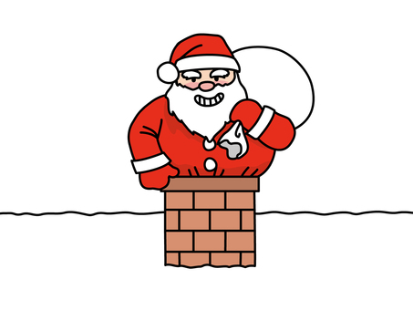 Santa Claus entering from a chimney
