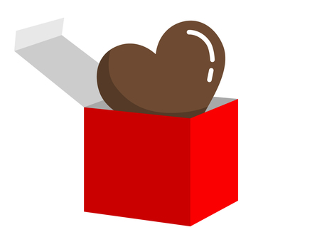 Heart chocolate (red) from the box