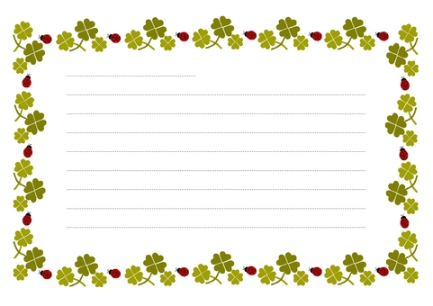 Letter notes of ladybugs and clover