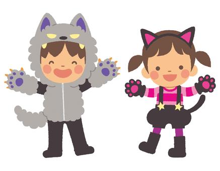 ハロウィンの子どもたち 黒猫と狼男