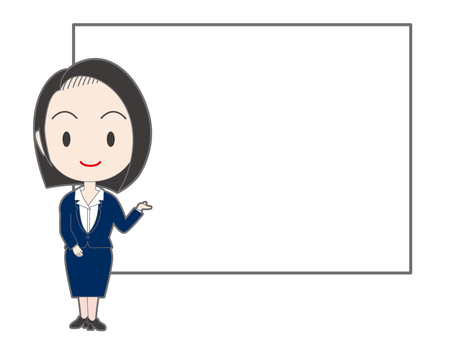 A woman in a suit in front of the white board