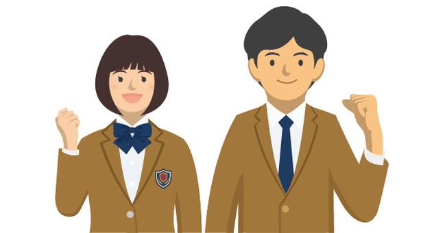 Student _ Uniforms of men and women -2 - 7 _ Half - body