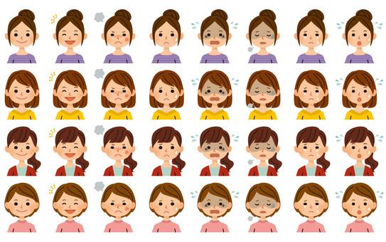 여성 표정 세트