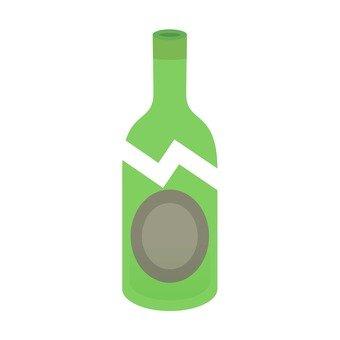 Broken bottle, moss green