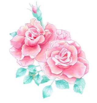 Rose watercolor picture ★ 0004-R