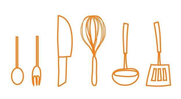 Kitchen equipment (line design) Orange