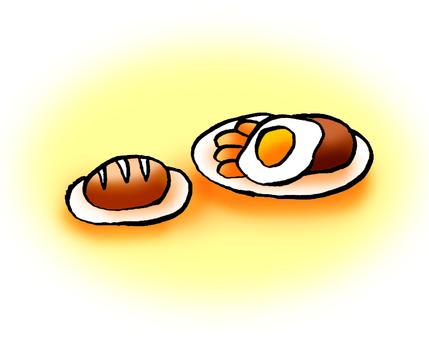 Buns hamburger fried egg