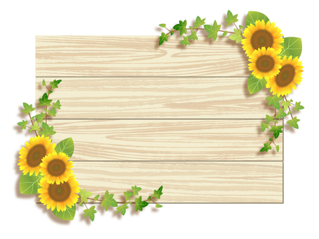 Sunflower and wood frame 04
