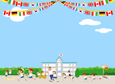 Athletic meet background with kids