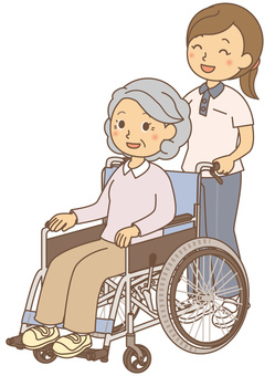Nursing care grandma and wheelchair