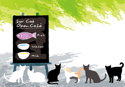 Open cafe message card cat