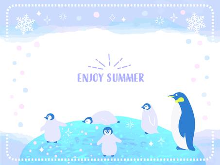 Summer watercolor penguin frame 1