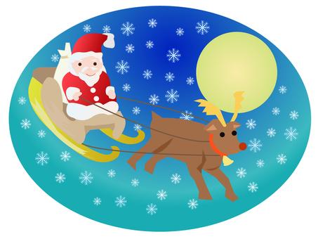 クリスマス そりに乗るサンタクロース