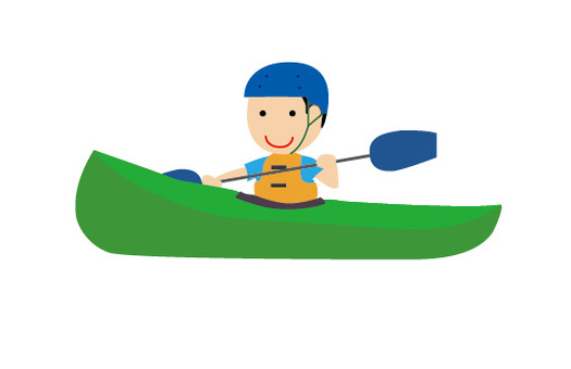 A boy canoeing
