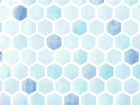 Wallpaper * Watercolor style Hexagon pattern (blue)