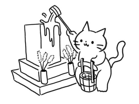 [B / W] Cat visiting grave [Line drawing]