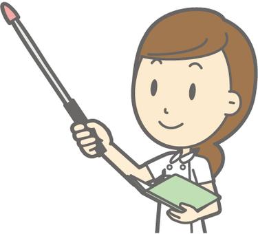 Female nurse - tactile stick 5 Top eyesight left slant - bust