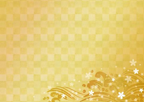 일본식 디자인 소재 039 파 금색 배경