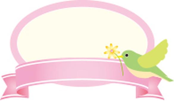 Bird ribbon label Pink
