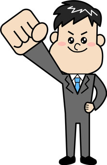A businessman raising a fist