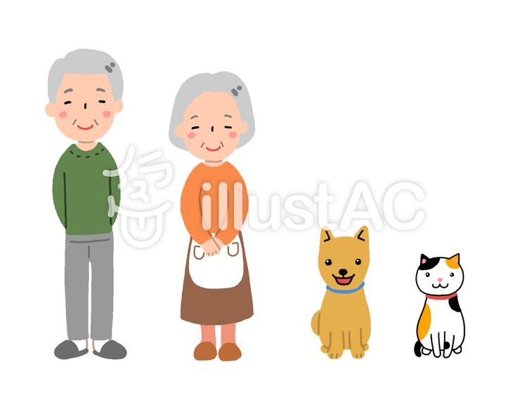 祖父母とペットのイラスト