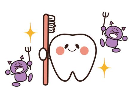 Illustration of dental caries and beautiful teeth