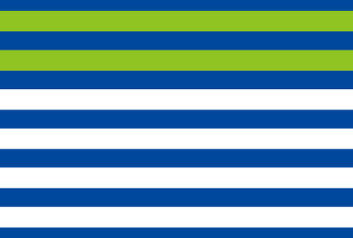 Green accents on blue stripes