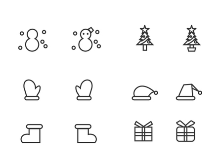Christmas stroke icon set