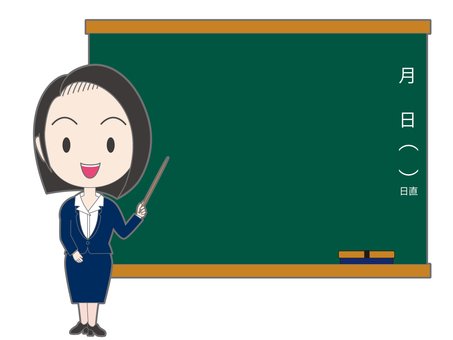 A woman with a stick in front of the blackboard