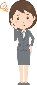 Women | OL | Suit | Troubled face