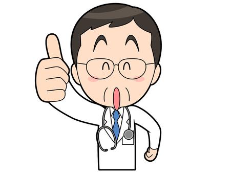 親指を立てる_白衣を着た男性医師_050