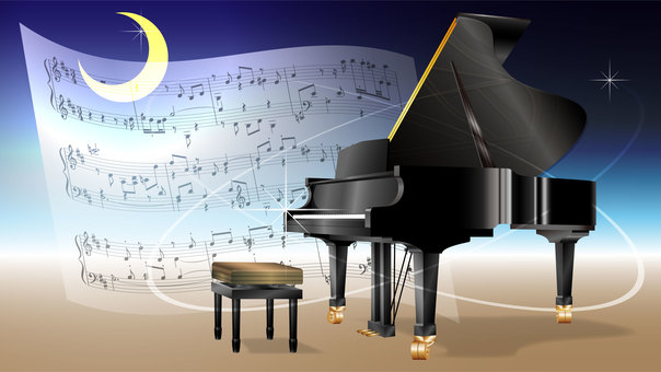 Wallpaper 16x9 (Grand piano and sheet music)