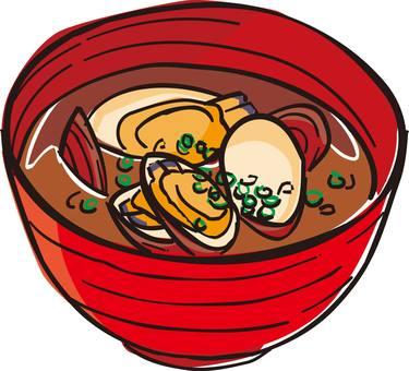 Asari soup, miso soup