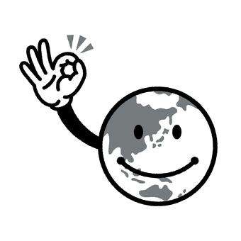 Earth Kun Line Drawing Monochrome
