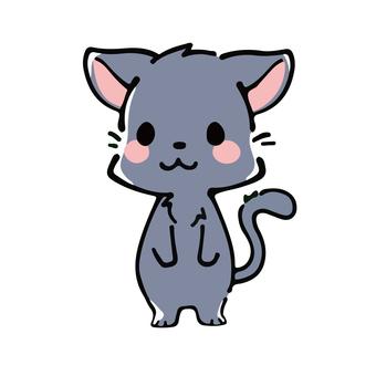 Deformed black cat illustration