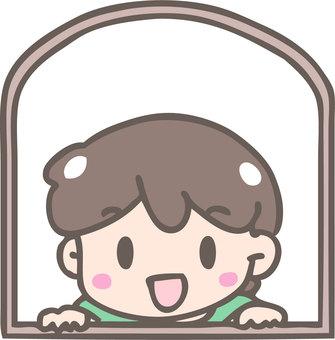 Peeping through the window (boy)