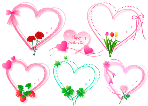 Five frames of hearts and flowers