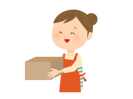 A woman in an apron with a cardboard box
