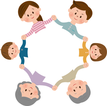 6 people family holding hands