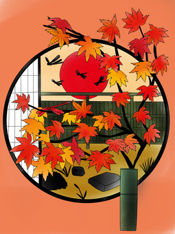 Round window, autumn leaves and red dragonfly