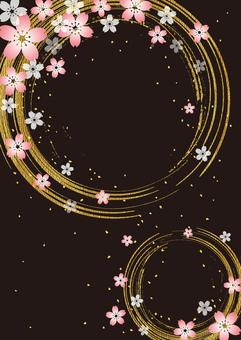 Sakura _ gold leaf _ black _ longitudinal background 2195