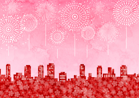 Watercolor cherry blossoms and building city and fireworks background