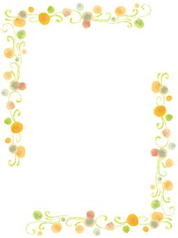 水彩フレーム枠かわいい春飾り蕾手書き蔓蔦
