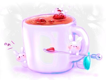 딸기 우유 차와 토끼들