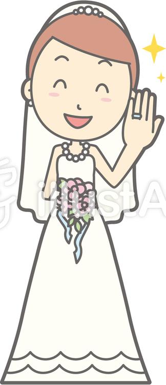 新婦ドレス-指輪-全身のイラスト