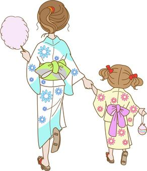 Yukata mom and child