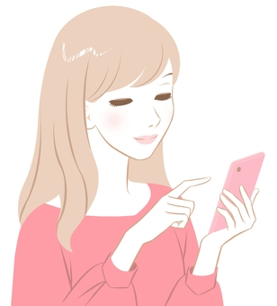 A woman with a smartphone Blouse Pink