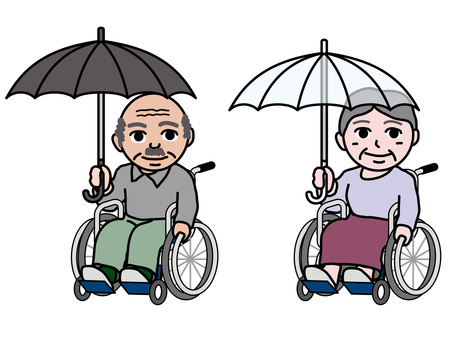An old man (9) A wheelchair male and female old man pointing an umbrella