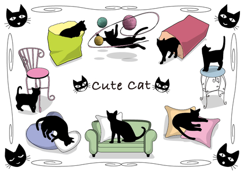 Collection of cute illustrations of cats